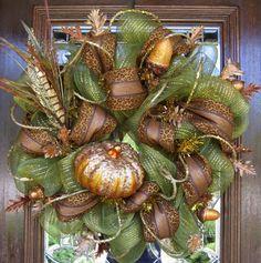 Deco Mesh FALL SPARKLE PUMPKIN Wreath