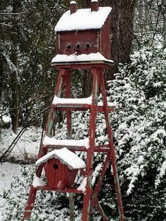 birdhouses, red, ladder birdhous, ladders, winter wonderland, winter garden, gardens, birds, bird hous