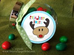 "Made a big basket of these ""Reindeer Noses"" jars last year and they were a hit. Easy and super cute!"