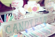 An old-fashioned candy buffet tempted guests with a sweet display of retro treats. // Photo courtesy of Vanessa Joy Photography
