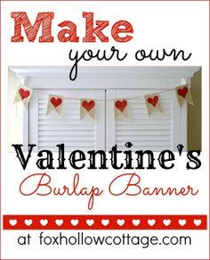Valentine's Day Banner in Burlap {a tutorial} - Fox Hollow Cottage