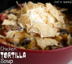 Crockpot Chicken Tortilla Soup!  This meal is so EASY to throw together and tastes amazing!  You just throw all the ingredients into the crock pot and let it cook all day!