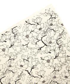 Black & Cream Magnolia Flower Wrapping Paper