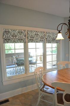 No Sew Roman Shades made from a Target Tablecloth.