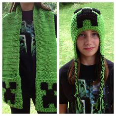 Minecraft Creeper Crochet Pocket Scarf and Earflap Hat Set