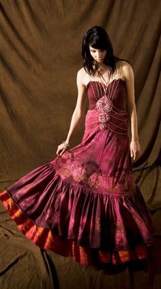Autumn Harvest Dress in Raspberry Coffee by TranscendentBird, $450.00