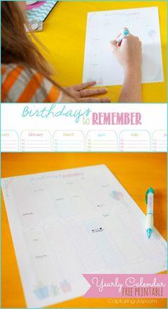 Yearly Birthday Calendar Free Printable at KristenDuke.com