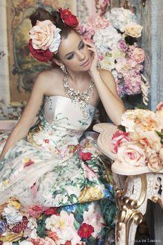 Haute Couture Wedding Dresses by Stella de Libero wedding dressses, de libero, colorful wedding dresses, flower power, gown, flowers, colorful weddings, floral, haute couture