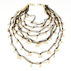 Amalia NecklaceNKC 686Fabric, pearls and gold-plated brass chain multi-strand necklace with adjustable lobster closure.