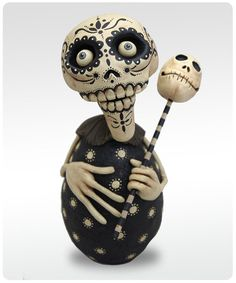 Dia De Los Muertos - Black and White Skelly by etsy artist chickenlipsfolkart