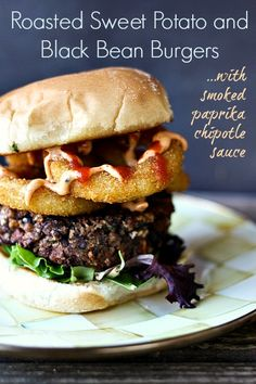 black bean burgers with roasted sweet potatoes and chipotle sauce