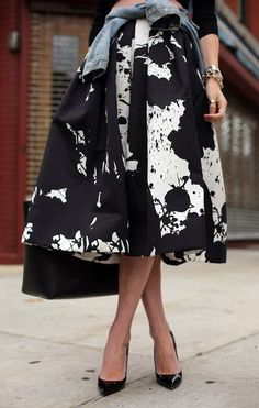 Splat black and white skirt. #style #fashion #skirts #skirts #love #classy #stylish #clothes #clothing #lady #ladies #ladylike #pin #pins #pinterest #repin #repost