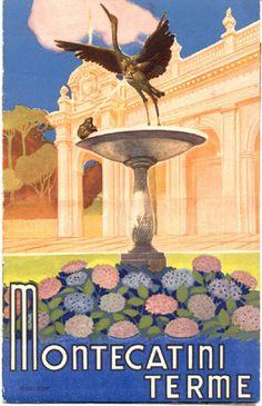 "Travel brochure for Montecatini Terme, 1937.  Published by the Visto Min, Cultura Popolare.  Signed ""Barabino & Graeve, Genova."" italy"