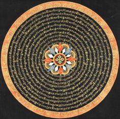 Vishva Vajra Mandala with Syllable Mantra and Endless Knot.