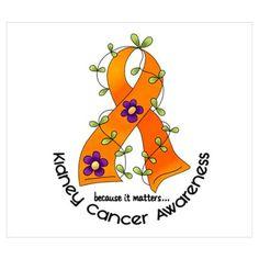 Flower Ribbon KIDNEY CANCER Poster