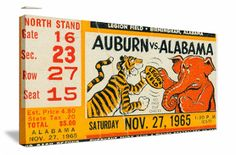Alabama football art on canvas made from an authentic 1965 Alabama vs. Auburn football ticket. Unique Alabama football gift for home or office.