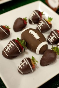 Football strawberries for a super bowl party | Football Tailgating Party - Kara's Party Ideas - karaspartyideas.com #strawberries #football #super #bowl