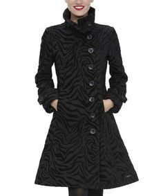 Take a look at this Black Zebra Asymmetrical Button Jacket by Desigual on #zulily today!