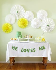 Bridal Shower Idea- the theme a daisy and on the pedals it says he loves me ( like the he loves me he loves me not) and the middle the invite info for the invatations. And  daisy centerpieces for tables and this sign on the food table and any other table