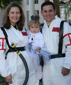 Easy DIY Couples Halloween Costume Idea: Ghostbusters (great if you have a kid or pet to dress up as a ghost!)
