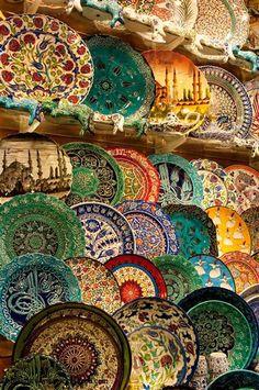 plates in the Grand Bazaar .. Turkey