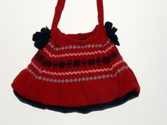 Felted shoulder Bag Red navy blue gray by mcleodhandcraftgifts,