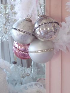 Vintage Pink Glass Christmas Ornaments, Bottle Brush Tree, Chandelier Garland Romantic Homes Crystal Prisms White Feather Christmas Tree