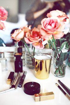 Vanity. rose, makeup vanities, vignett, beauty products, bedside tables, fresh flowers, vanity tables, beauty essentials, bathroom
