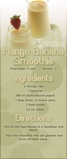 Mmm, mango and banana smoothie recipe!  Easy and healthy!  #smoothie #healthy #healthyeating #recipe #mango #banana