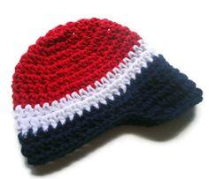 Baby Boy, Baby Boy Crochet Hat, Visor Hat, Toddler Boys Hat,  Red, White, Blue, MADE TO ORDER. $22.00, via Etsy.