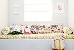 bench with pillows | patterns by danielle oakey