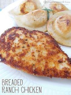 Breaded Ranch Chicken with Hidden Valley  1/2 cup Panko bread crumbs  1/4 cup grated parmesan cheese  2 tsp garlic powder  1 envelope Hidden Valley Original Ranch Seasoning Mix  5 tbsp butter divided  6 boneless chicken breasts