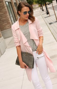 Blogger Penny Pincher Fashion wears a pastel jacket over her go-to grey Gap tank.