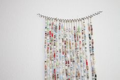 Colorful Recycled Book Bead Curtain Art