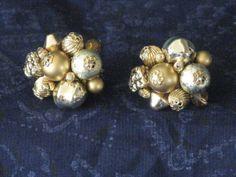 Vintage Designer Signed VENDOME Gold Tone Beaded Clip Earrings