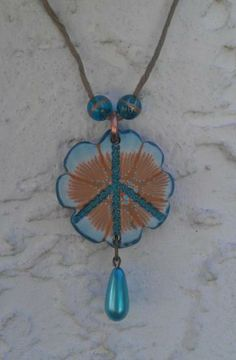 Flowery Peace Necklace by craftygal5 for $14.95 #zibbet #blue