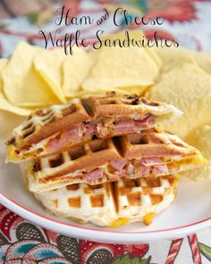 Ham and Cheese Waffle Sandwiches