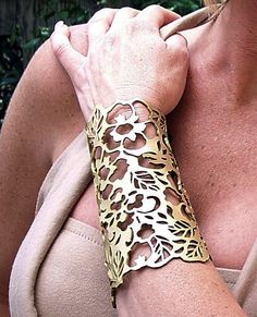 Cuff Floral in gold leather 61/2 wrist by TomBanwell on Etsy, $39.00