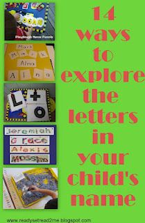 14 ways to explore the letters in your child's name