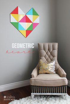 valentine day ideas, diy geometr, diy crafts, heart wall, wall treatments