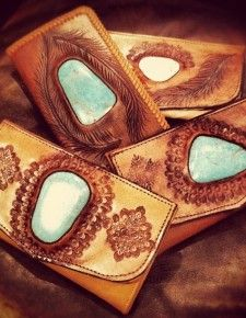 Buffalo Girl Carved Turquoise Wallet