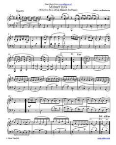 """Beethoven's """"Minuet in G"""" is a popular and relatively easy piece for the piano. You can download the sheet music, midi and mp3 files via this link."""