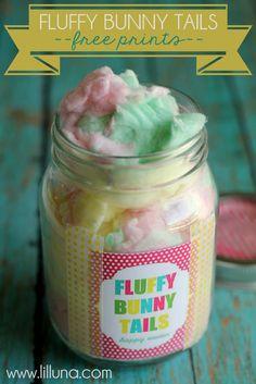 Cute Easter Gift Idea - Fluffy bunny tails!! Free prints on { lilluna.com }