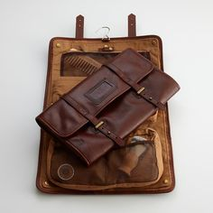 Leather excursion travel kit