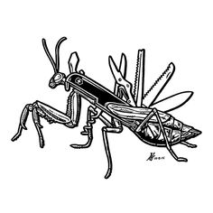 Day 8 of #Inktober 2014 by #GIGART. I love my new Swiss Army Mantis. It's got a screwdriver, scissors, knife, two grasping spiked forelegs, widely spaced binocular vision eyes, and even a corkscrew! Just what I needed.