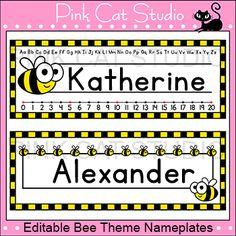 Bee Theme Classroom  - Nameplates - Editable bee attitud, bee classroom decorations, kindergarten bee theme