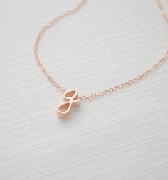 lowercase rose gold initial necklace