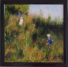 A painting for my friend's wedding - it shows her son and dog playing on a poppy strewn bank in her garden