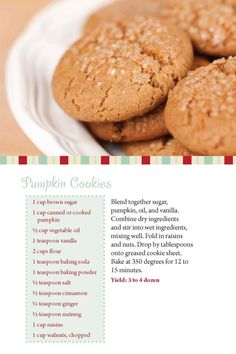 Pumpkin Cookies- need to try.  Might be close to the recipe I brought in and made vegan for Microsoft.