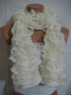 White ruffled scarf by Arzus on Etsy, $18.90